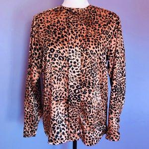 Oscar de la Renta vintage leopard print blouse